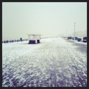 snow on the seafront