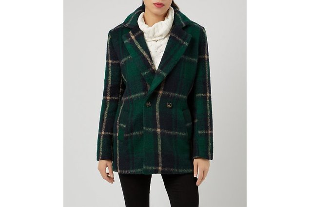 New Look Fashion Union Green Check Boyfriend Coat