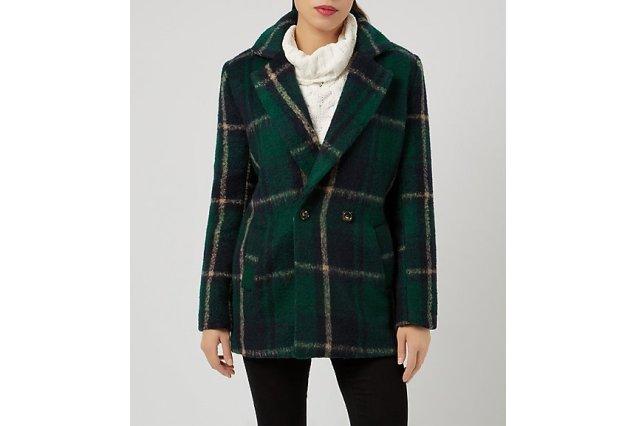 New Look Fashion Union Green Check Boyfriend Coat